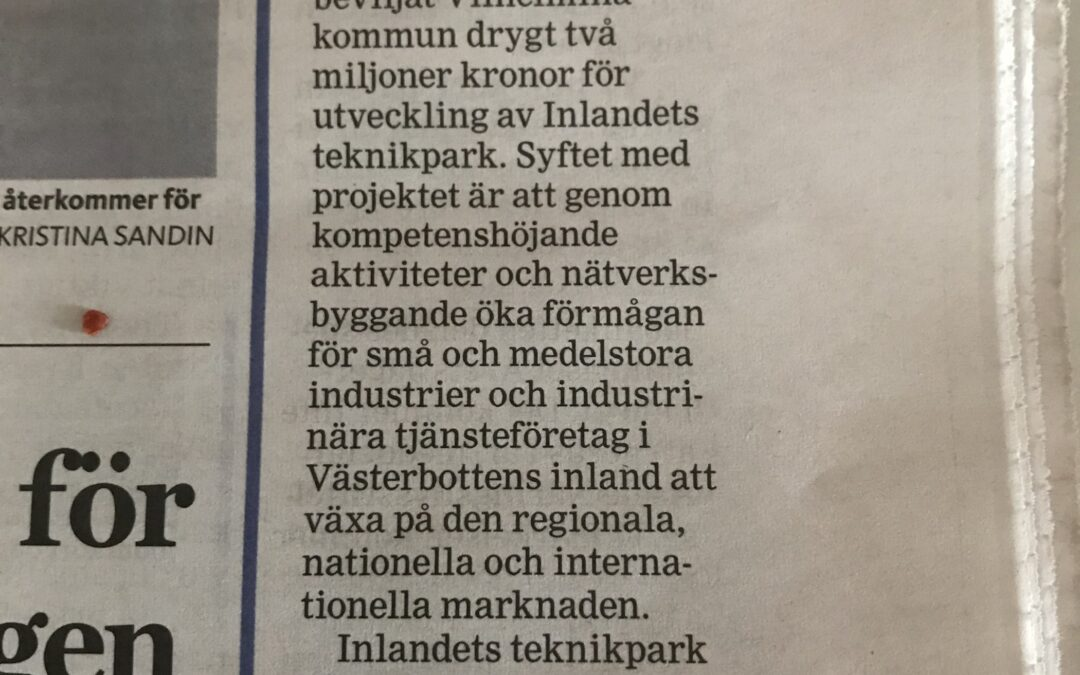 Teknikparkens projektansökan till Region Västerbotten och Tillväxtverket